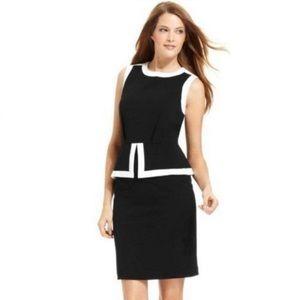 Calvin Klein Black and White Peplum Dress